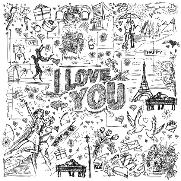 Vector sketch frame background with love story elements Stock photo © leedsn
