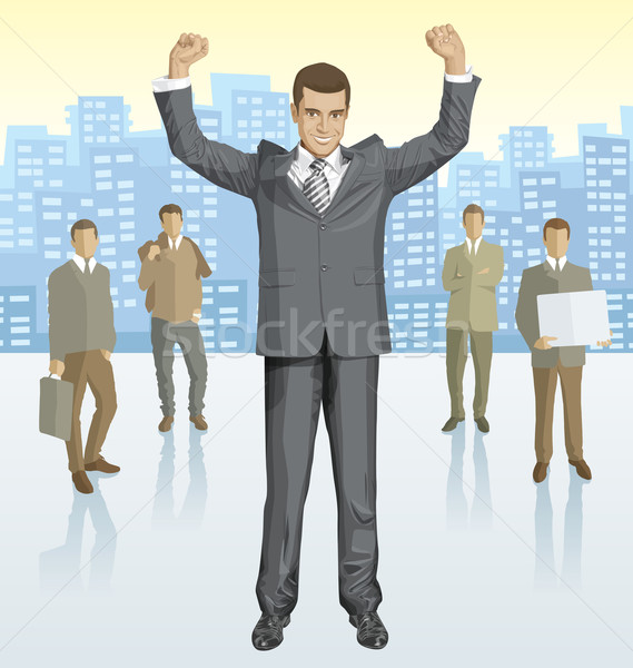 Vector businessman and silhouettes of business people Stock photo © leedsn