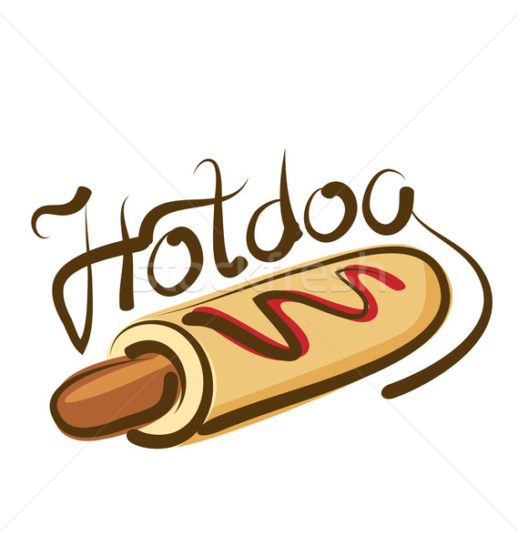 Vector hot dog opschrift abstract restaurant Stockfoto © leedsn