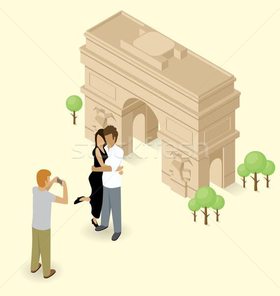 Couple Making Selfie Near The Triumphal Arch in Paris Stock photo © leedsn