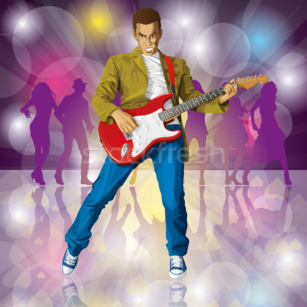 Punk gitár vektor férfi összes rétegek Stock fotó © leedsn