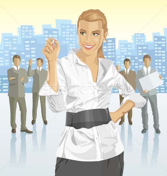 Vector businesswoman and silhouettes of business people Stock photo © leedsn