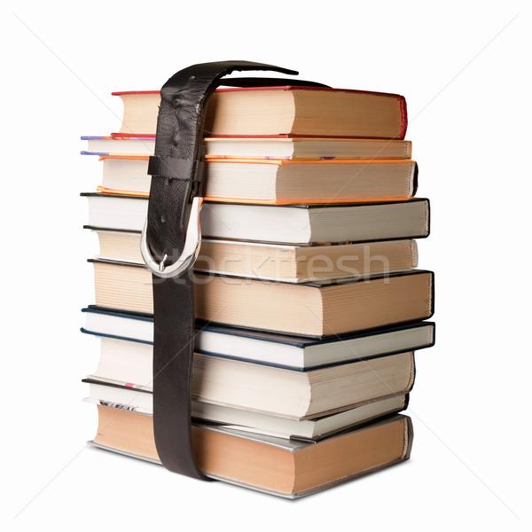 Könyvek köteg öv sok fekete bőr Stock fotó © leedsn