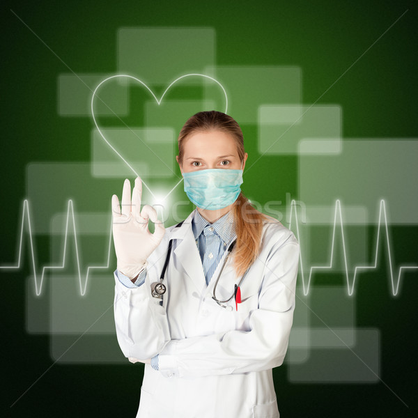 Medico donna elettrocardiogramma touch screen business medici Foto d'archivio © leedsn
