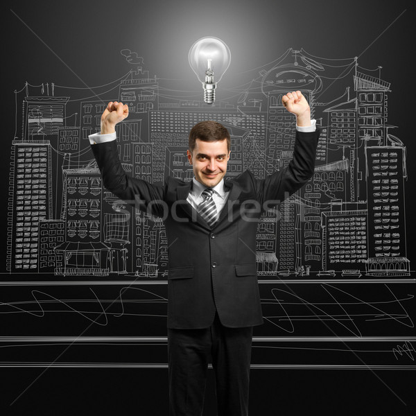 lamp-head businessman with hands up Stock photo © leedsn