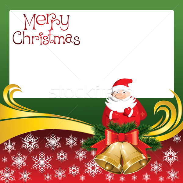 Vector Christmas Card with Bells and Santa Claus Stock photo © leedsn