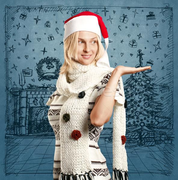 Nő vár karácsony mikulás kalap rajz Stock fotó © leedsn