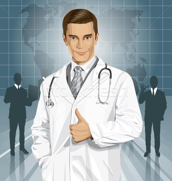 Stock fotó: Vektor · orvos · sztetoszkóp · férfi · kút · orvosi
