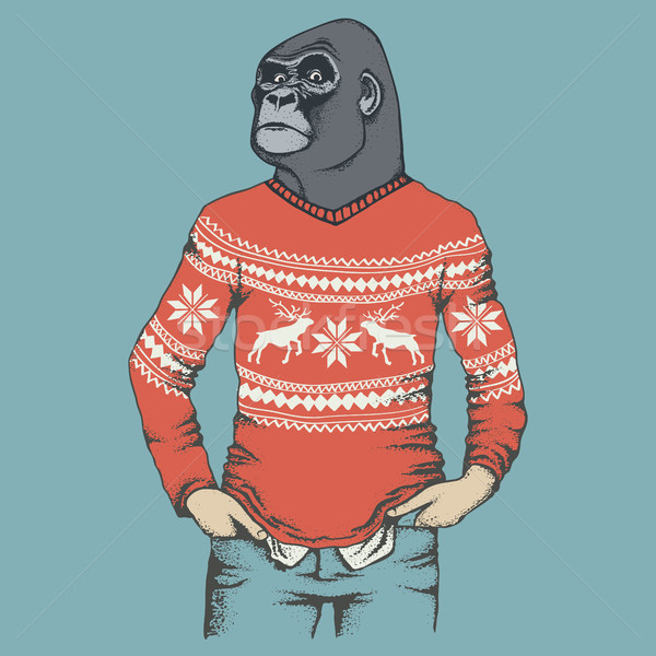 Monkey gorilla vector illustration Stock photo © leedsn