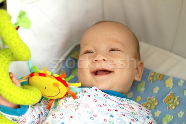 Bonitinho brinquedos do bebê menina amor olhos Foto stock © leedsn