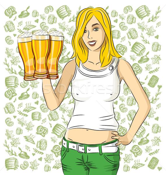 Vetor mulher vidro cerveja oktoberfest menina Foto stock © leedsn