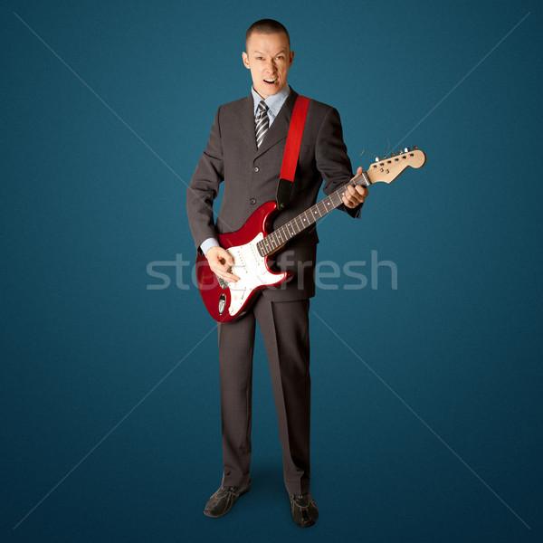 Punk człowiek gitara odizolowany biały muzyki Zdjęcia stock © leedsn