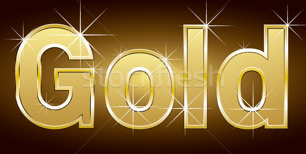 Arany szó arany vektor levelek fények Stock fotó © leedsn