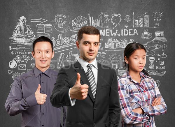 Stockfoto: Asian · team · lamp · hoofd · zakenlieden · laptops