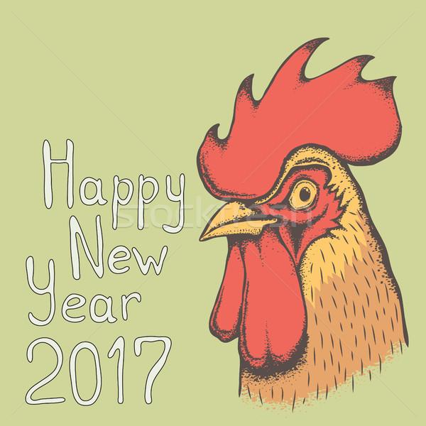 Vecteur coq oiseau illustration tête nouvelle année Photo stock © leedsn