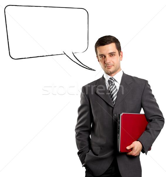 Business Man With Speech Bubble Stock photo © leedsn