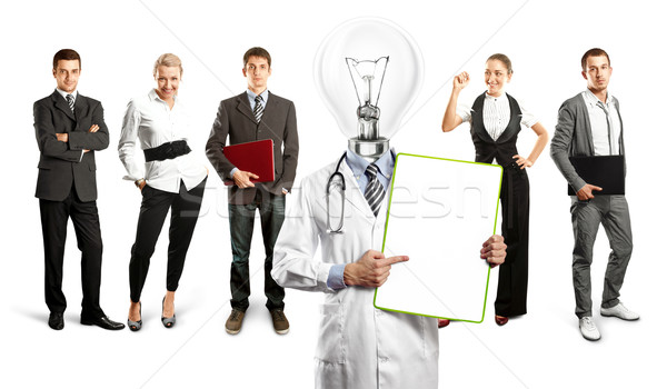 Stockfoto: Business · team · lamp · hoofd · arts · idee · verschillend