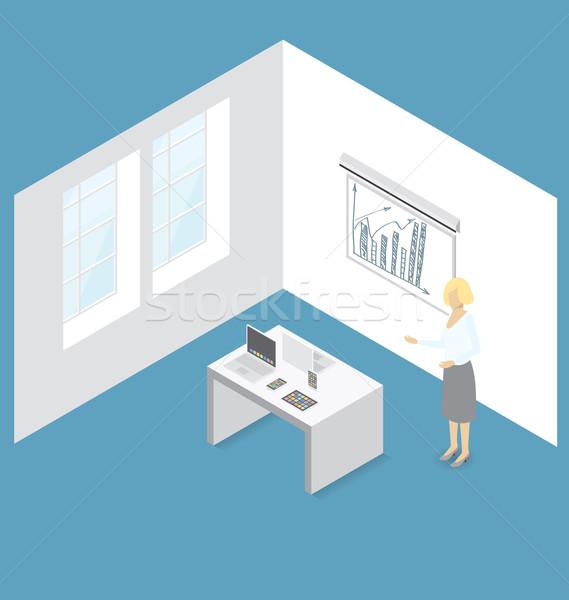 Stockfoto: Vector · 3D · isometrische · gadget · presentatie · vrouw