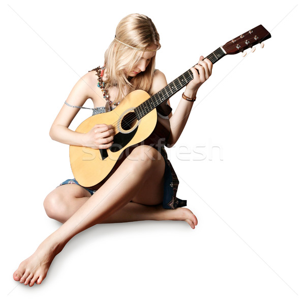 hippie girl with the guitar Stock photo © leedsn