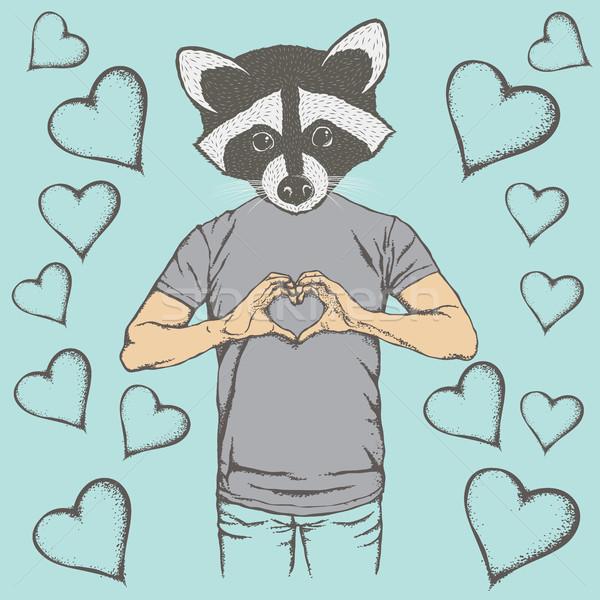 Wasbeer Valentijn dag vector hoofd menselijke Stockfoto © leedsn