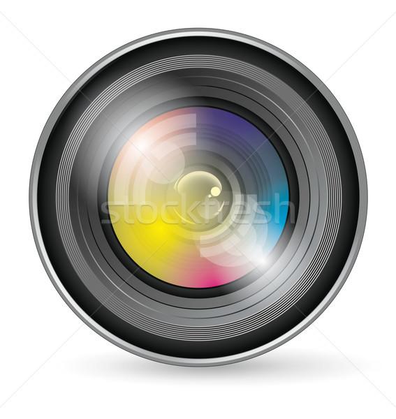 Kameralencse ikon vektor app háttér művészet Stock fotó © leedsn
