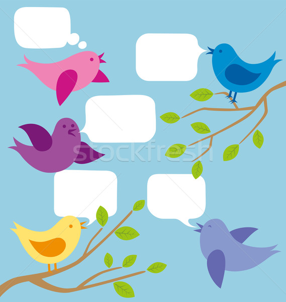 Vector Card With Birds Stock photo © leedsn