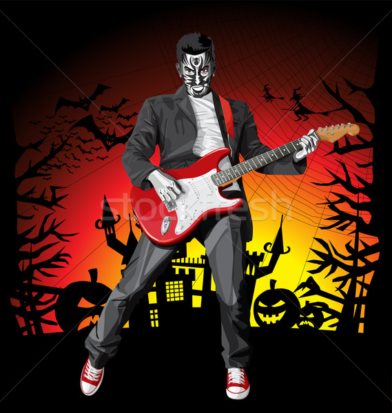 Vector Halloween scary punk man with the guitar Stock photo © leedsn