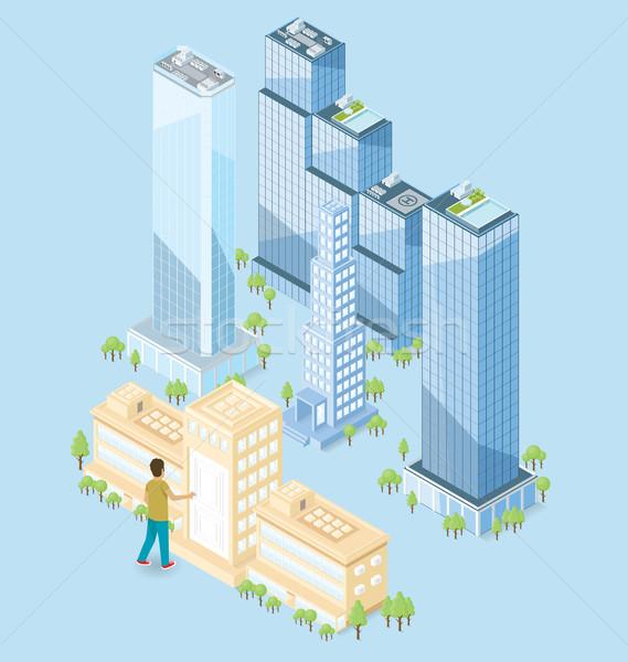 Vector 3D isometrische kantoorgebouw deur groot Stockfoto © leedsn