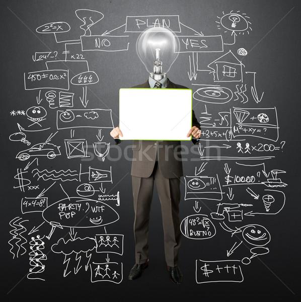 幸せ ビジネスマン カード 白 手 ストックフォト © leedsn