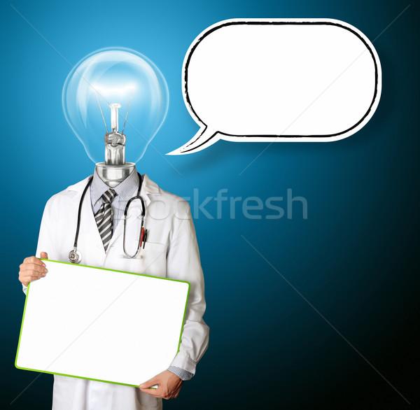 Médico vazio conselho balão de pensamento mãos modelo Foto stock © leedsn