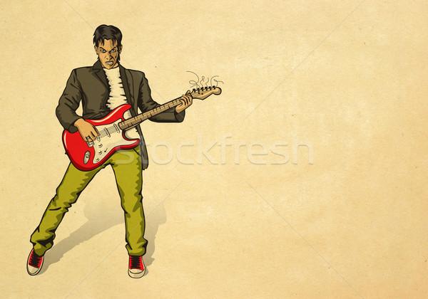 панк человека гитаре бежевый старой бумаги музыку Сток-фото © leedsn