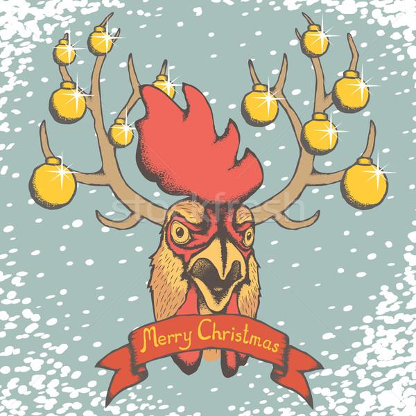 Kakas karácsony fej hó felirat vidám Stock fotó © leedsn
