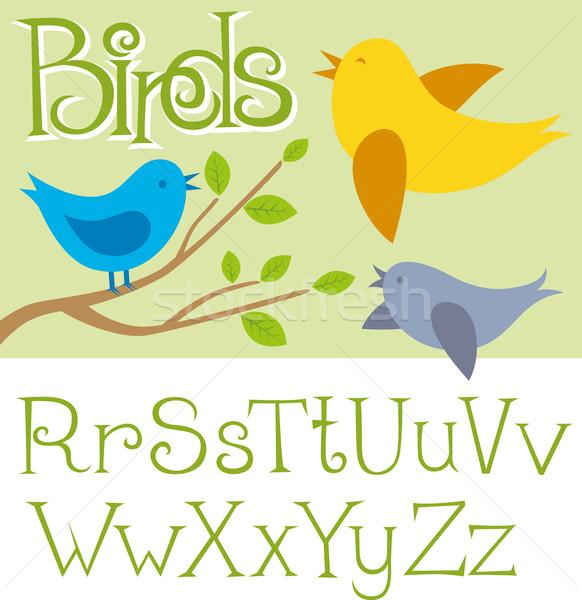 Vector Card With Birds Stock photo © leedsn