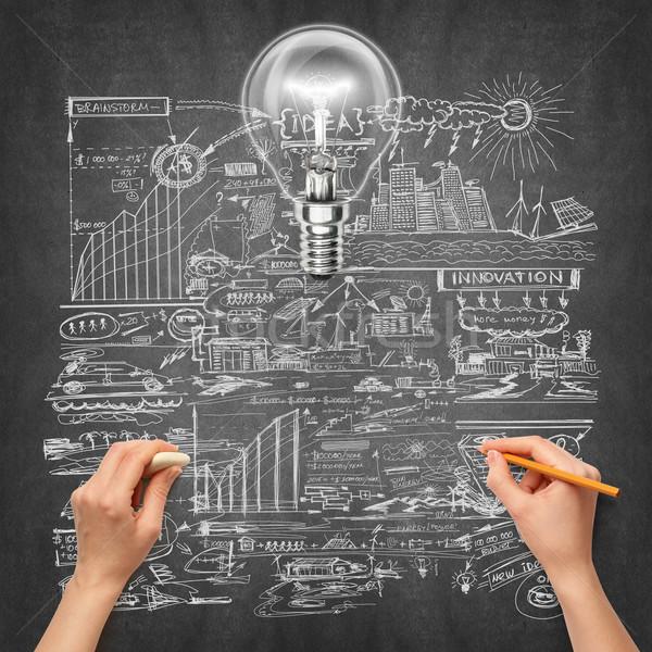 Idée main humaine écologie lampe croquis crayon Photo stock © leedsn