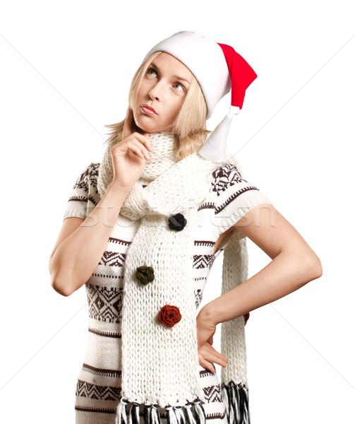 Frau warten Weihnachten hat Lächeln glücklich Stock foto © leedsn