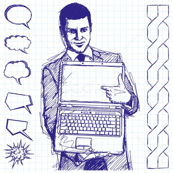 Sketch Businessman With Open Laptop In His Hands Stock photo © leedsn