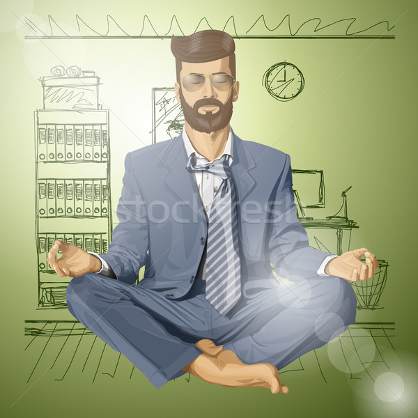 Stock photo: Vector Hipster Businessman in Lotus Pose Meditating