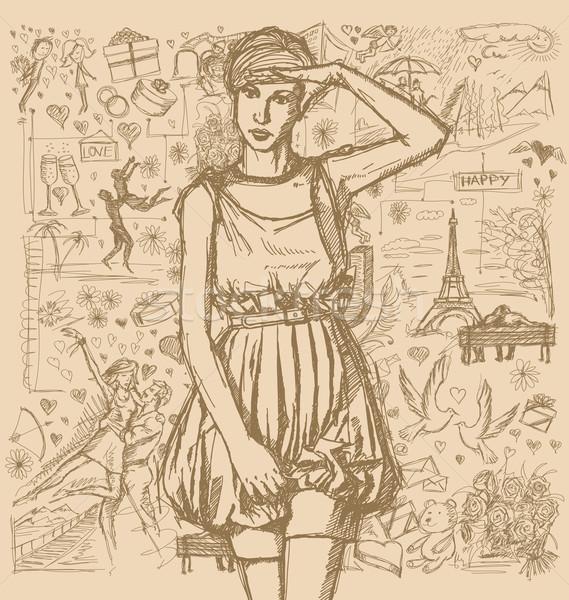 Stockfoto: Meisje · roze · jurk · liefde · verhaal · vector