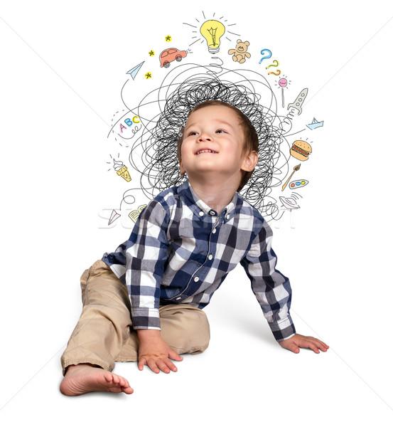 Little boy thinking Stock photo © leedsn