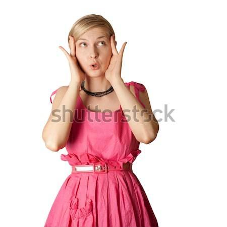 surprised girl in pink Stock photo © leedsn