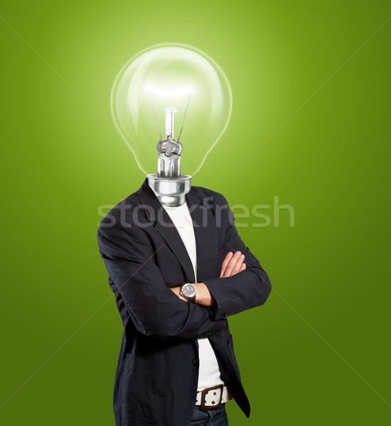 Stock foto: Lampe · Kopf · Geschäftsmann · Idee · Hand · Körper