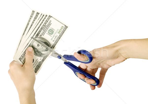 США долларов стороны ножницы изолированный белый Сток-фото © leedsn