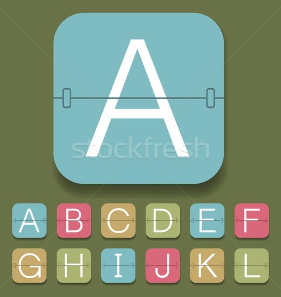 Mechanisch scorebord alfabet vector ingesteld klok Stockfoto © leedsn