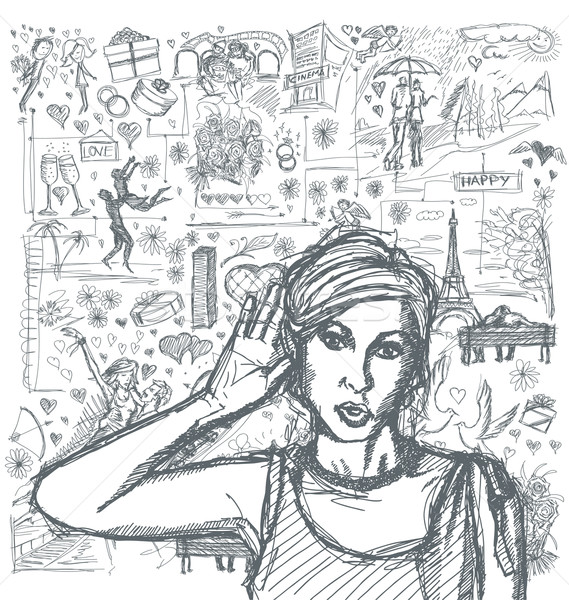 Stock photo: Sketch Woman Overhearing Something Against Love Story Background