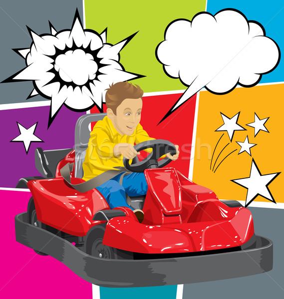 Menino condução feliz acelerar brinquedo jogar Foto stock © leedsn