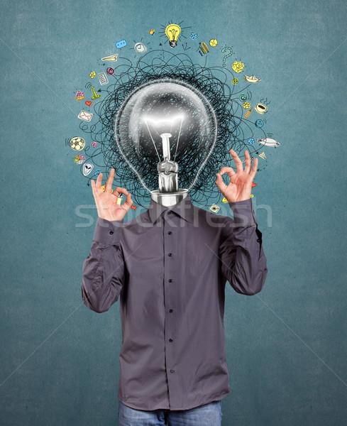 Lámpa fej férfi ötlet nagyszerű kéz Stock fotó © leedsn
