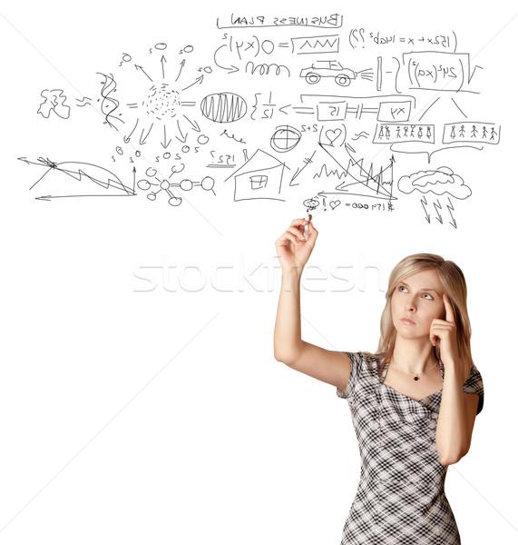 Geschäftsfrau etwas isoliert weiß Computer Frau Stock foto © leedsn