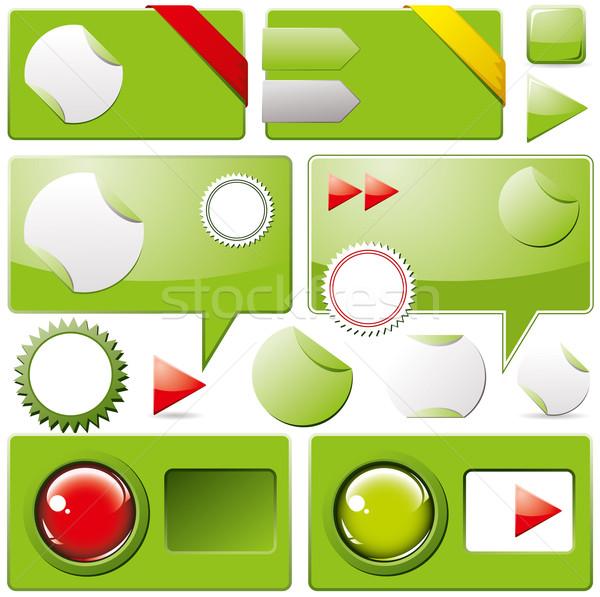 Stock fotó: Gyűjtemény · színes · háló · elemek · fényes · felirat