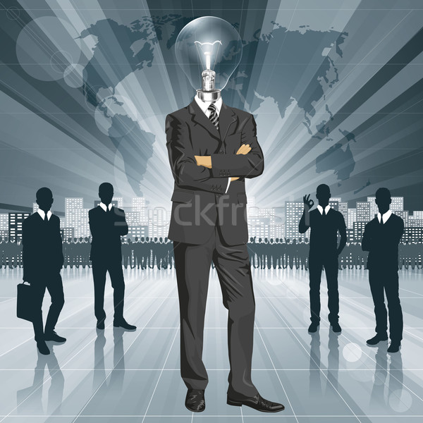 Lamp Head Businessman In Suit Stock photo © leedsn