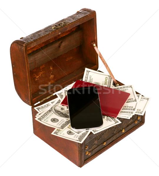 EUA dólares caixa celular isolado branco Foto stock © leedsn